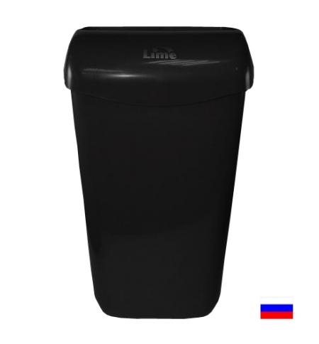 фото: Ведро для мусора Lime черное с держателем мешка, 23л, 974232